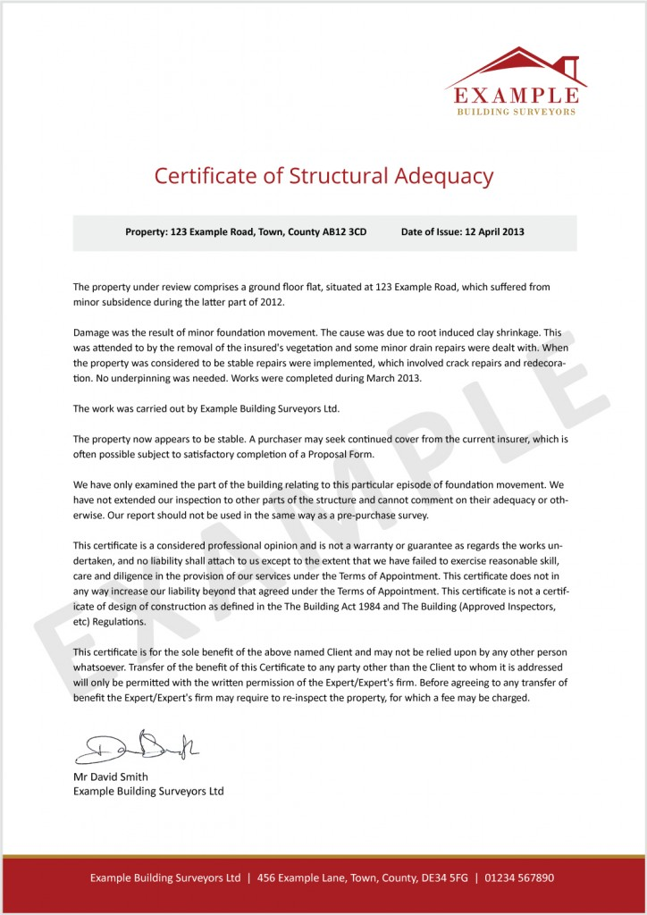 Certificate of Structural Adequacy